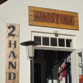 """Second Hand Laden """"Rugstore"""" Schild 2"""
